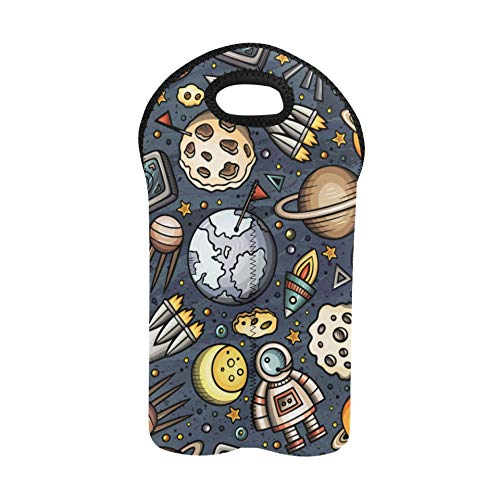 Wine Carriers and Totes Child Fun Cartoon Cute Earth Painting Bottle Tote Double Bottle Carrier Picnic Wine Bag Thick Neoprene Wine Bottle Holder Keeps Bottles Protected