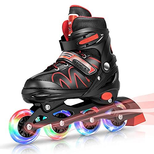 Inliner Kinder, ABEC-7 Chrome Kugellager Einstellbare Unisex Fitness Inline-Skates für Erwachsene Anfänger mädchen Jungen Kinder Herren Damen (Rot, L (37-42))
