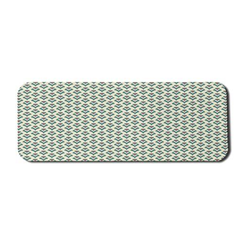 Floral Computer Mouse Pad, exquisite romantische Knospen im abstrakten Retro-Stil Design Brautstrauß, Rechteck rutschfeste Gummi Mousepad große blaugrüne Creme dunkle Koralle
