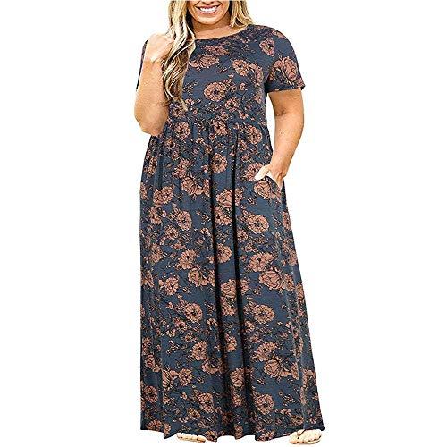 Bdb Damesjurk met korte mouwen Casual Losse Maxi afdrukken Grote Maat Lange jurken vallen