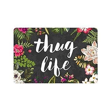Thug Life Flowers Doormat Entrance Mat Floor Mat Rug Indoor/Outdoor/Front Door/Bathroom Mats Rubber Non Slip (23.6 x15.7 ,L x W)