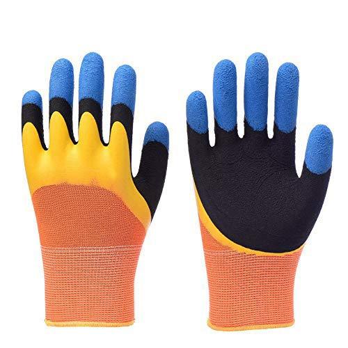 Mschenlu 5 Paar Gartenhandschuhe damen,Arbeitshandschuhe herren, Schutzhandschuh , Dreischichtige Verdickung der Fingerspitzen Handschuhe,wasserdicht, rutschfest for Gartenarbeit, Fisch,Schweißen