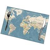 Abows-Shop Mapa del Mundo Azul del país Mapa del Mundo detallado Alto Manteles Individuales de Mesa Beige para Mesa de Comedor, tapetes de Mesa Lavables Juego de 6 a Prueba de Calor (12X18 Pulgadas)