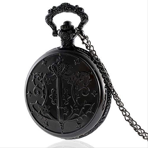 YYhkeby Bolsillo Watchantique Black Butler Pocket Watch Vintage Cuarzo Colgante Collar Retro Cadena Kiakai (Color: Negro) Jialele (Color : Black)