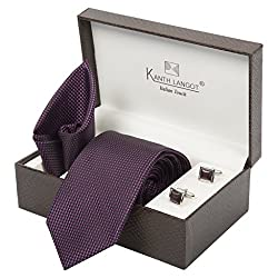 Kanthlangot Mens Jacquard Tie Pocket Square and Cufflinks Set Multi- Colour_Free Size