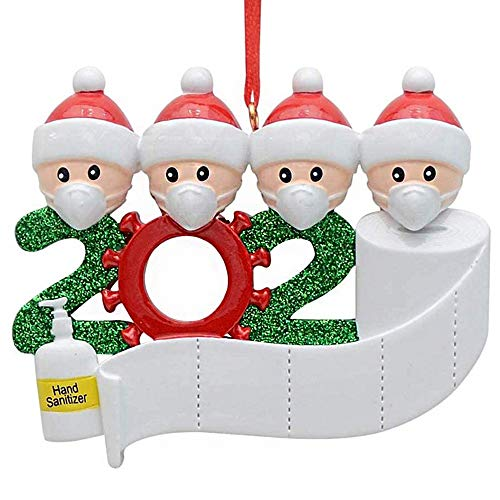 TOSFOGO Personalized Quarantine 2020 Christmas Ornament Customized 1-7 Family Name(4 Person)