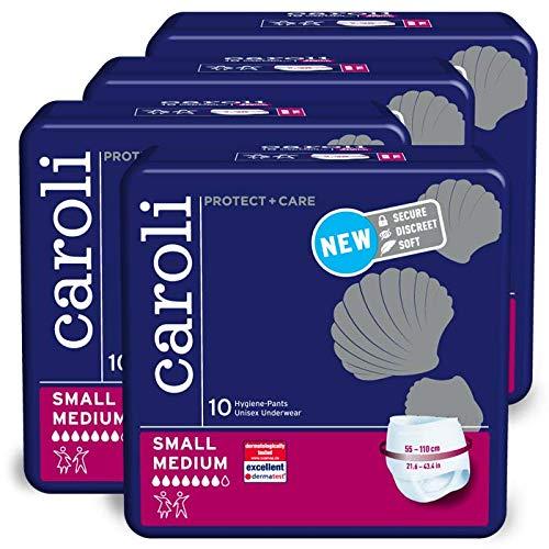 Caroli Protect + Care Pants, Unisex Unterwäsche ohne Duft, Hygiene-Einlagen Vorteilspack (4 x 10 Stk.) für mittlere Blasenschwäche (Medium)