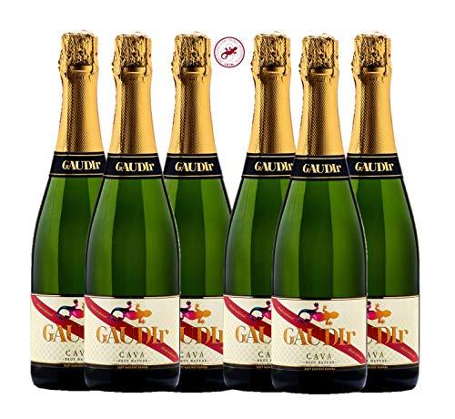 GAUDIr Cava Brut Nature - Producto Gourmet - Cava para regalo - Pack de Cava - Edición Especial Homenaje Modernista Ciudad de Barcelona siglo XIX - Vegano – 6 botellas x 750 ml.