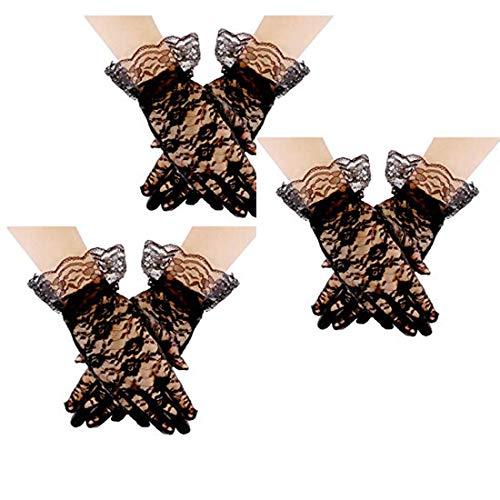 driew 3 pares de guantes de encaje cortos guantes de verano de cortesía para mujer