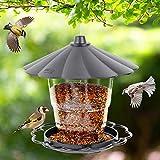 Juegoal Wild Bird Feeder, 40 oz Panorama Gazebo Bird Feeder, Foldable and Portable Hanging for Outside Garden Yard Decoration, Grey