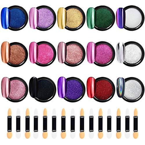 Tunume Nagelpuder 15 Gläser Chrome puder nägel Metallic Glitters Chrome pigmente nägel 15 extra applikator, 1 g pro Glas