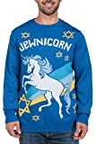 Men's Funny Hanukkah Sweater - Jewish Unicorn Holiday Sweater: XX-Large Blue