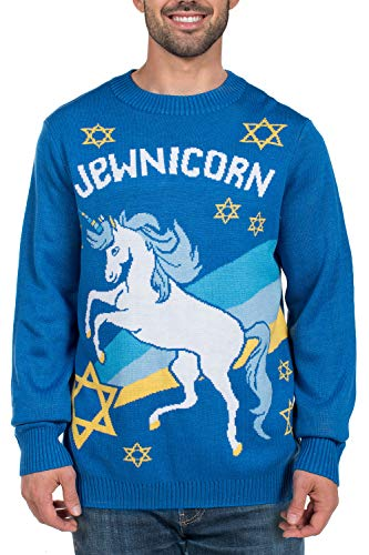 Men's Funny Hanukkah Sweater - Jewish Unicorn Holiday Sweater: XX-Large Blue