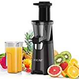Juicer Machines, Nxone Slow Masticating Juicer Extractor, Cold Press Juicer Easy to Clean, Quiet Motor & Reverse Function, BPA Free, Higher Juice Yield Juice Extractor with Brush and Recipes for Fruits and Vegetables, Black