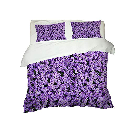RYQRP Single Duvet Cover Set Purple Flower Bedding Set with Zipper Closure in Polyester, 3pcs, 1 Quilt Cover 2 Pillowcases for Children Adults, 140x200cm
