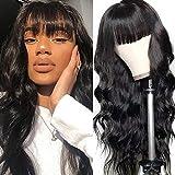 Nadula Malaysian Body Wave Wig with Bangs 100% Virgin Human Hair Capless Wigs with Full Bangs 150% Density Glueless Machine Made Wigs For Black Women (16 inch)