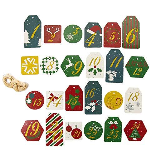 Oblique Unique® 24 Zahlen Anhänger 1-24 mit Jute Schnur und Glitzereffekt für DIY Adventskalender Weihnachten zum Basteln und Verzieren Deko