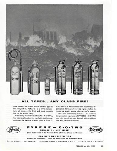 1955 Original Magazine Print Ad #1 Pyrene CO2 Fire Extinguishers Dry Chem
