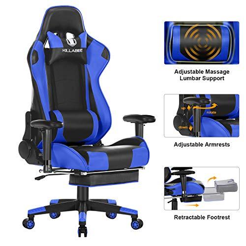 KILLABEE Big and Tall 350lb Massage Memory Foam Gaming Chair - Adjustable...