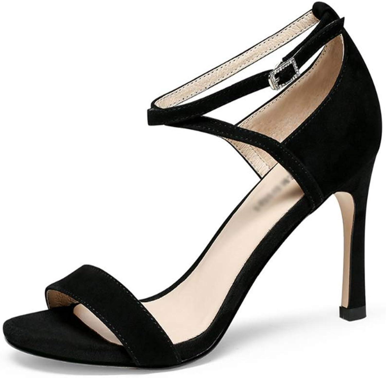 WDS Ladies Ladies Stiletto Heel Open-Toe Hollow Ankle Strap Summer Fashion (color  Black, Size  38)