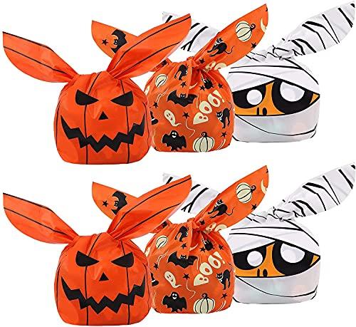 LEEWENYAN 150 Bolsas de Dulces de Halloween, Fantasma de Calabaza de Halloween para Regalo de Fiesta, bocadillos, decoracin de Suministros para Fiestas de Halloween, 3 Estilos