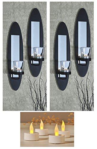 Markenlos Kerzenwandhalter Teelichter Wand Kerzenhalter Wandleuchter Wandkerzenhalter LED (2er Set)