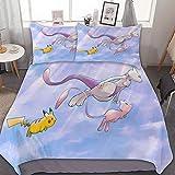 Pikachu Mew Mewtwo, juego de cama de 3 piezas, con cierre de cremallera y 2 fundas de almohada, juego de edredón de dibujos animados para niños y niñas