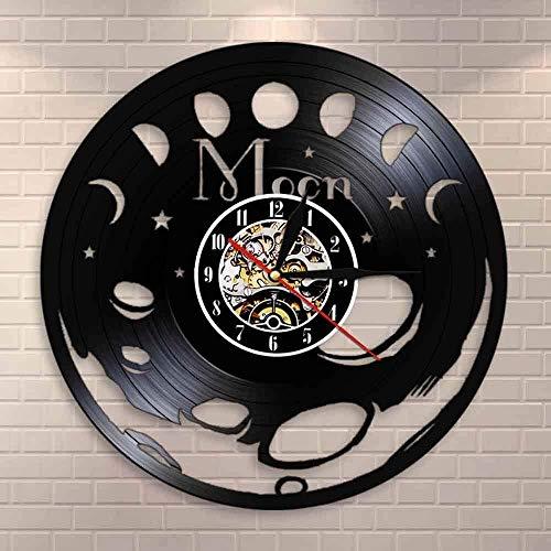 CCGGG Fase Lunar Retro Disco de Vinilo Arte de la Pared Dormitorio Reloj de Pared silencioso Espacio Luna decoración del hogar Fase Lunar Celestial Mesa de Pared