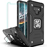 Galaxy Note 9 Case, Samsung Note 9 Case with 3D Curved Screen Protector,YmhxcY Armor Grade Cases with Rotating Holder Kickstand Non-Slip Hybrid Rugged Case for Samsung Note 9 6.4' KK Black