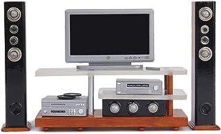 SXFSE Dollhouse Decoration Accessories, 1:12 Dollhouse Miniature Furniture Simulation Living Room Set Hi-Fi Speaker TV Cab...