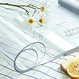 LC&TEAM Transparente Tischdecke Tischfolie Glasklar Folie 2 mm PVC Abwaschbar Hochglanz Schutzfolie Tischschutz Durchsichtig Tischschoner 40x100 cm - 6
