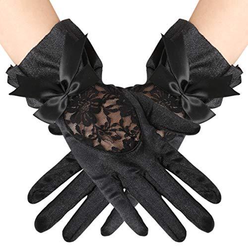 Coucoland Damen Kurze Satin Handschuhe Dekoriert mit Lace und Schleife Abschlussball Tanzabend Elegante Spitzen Handschuhe Damen Fasching Kostüm Accessoires (Schwarz)