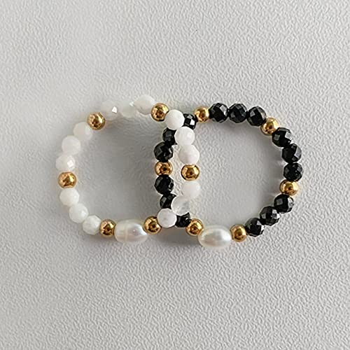 LVYAN Anillo de Perlas de Agua Dulce de Piedra Natural de obsidiana de Estilo clásico para Mujer Anillos de Acero Inoxidable Anillo de Cuerda elástica Ajustable