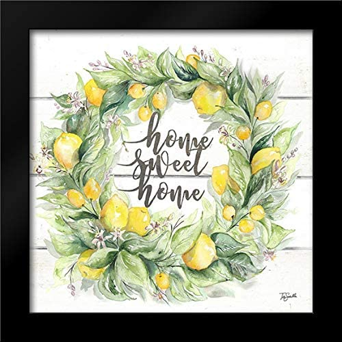 Watercolor Lemon Wreath Home Recommended Sweet Art Framed Print b Max 47% OFF 20x20