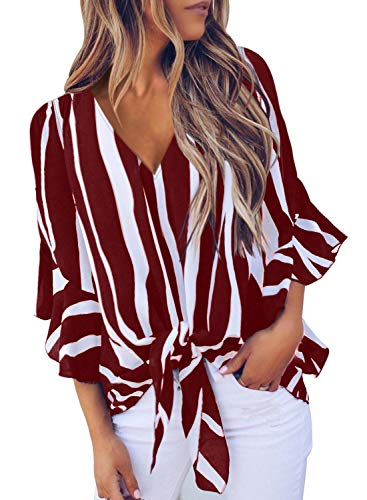 Elegant sexy v neck Tops,you will never out of style for our striped shirt,a perfect gift for your friends,roomate and yourself. Striped v neck blouses with tie knot front,meet your fashion taste! Loose fit summer v neck shirt can cover all body shap...