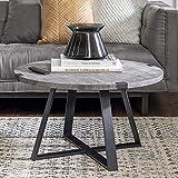 Walker Edison Anastasia Modern Metal Wrap X Base Coffee Table, 30 Inch, Grey Concrete