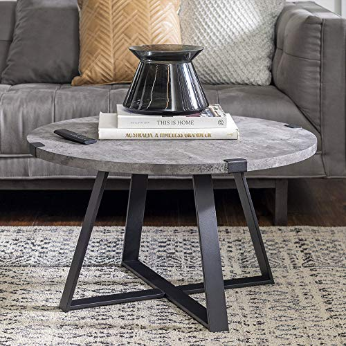 Walker Edison Furniture Rustic Farmhouse Round Metal Coffee Accent Table Living Room, 30 Inch, Grey Concrete