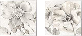 Indigold Gray by Lisa Audit, 2 Piece Canvas Art Set, 10 X 10 Inches Each, Floral Art