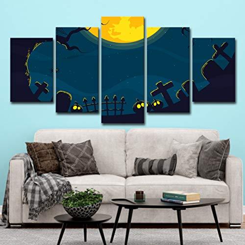 lijuan store Kinderzimmer dekorative Malerei 5 Platten mit Rahmen Leinwand Malerei Wohnzimmer Schlafzimmer Wandmalerei 75CM Halloween Spinne Grabstein
