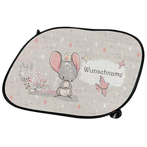 wolga-kreativ Auto Sonnenschutz und Sonnenblende Kinder Mädchen Junge süßer Maus mit Name für Baby und Kind personalisiert Wunschname Bedruckt