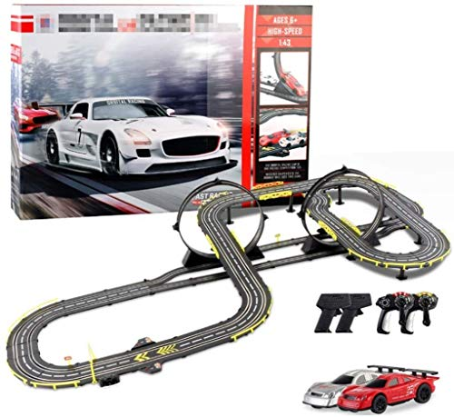N&G Pista de decoración para el hogar 9.5M Rail Car Slot Car Racing Track Tracer Racers R/C Control Remoto de Alta Velocidad Track Car Set Garage Gliding Track 1:43 Escala Bloques de ensamblaje para