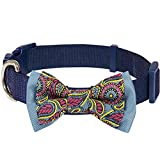 Blueberry Pet 4 Patterns Paisley Print Handmade Detachable Bow Tie Adjustable Dog Collar in Navy Blue, Small, Neck 12'-16'