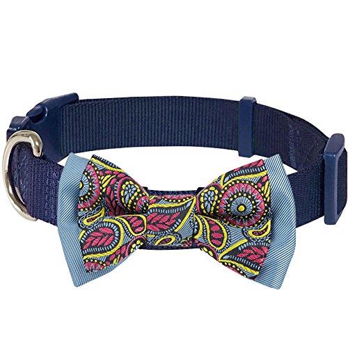 Blueberry Pet 4 Patterns Paisley Print Handmade Detachable Bow Tie Adjustable Dog Collar in Navy Blue, Medium, Neck 14.5'-20'