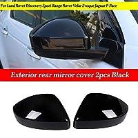 車のヘッドライトカバーシェル 2個の車ルックカーボンファイバーバックリアビューミラーカバーフィット感のためのランドローバーディスカバリースポーツレンジローバーEvoque軟口蓋ジャガーF-ペース (Color : Piano black)