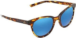 Costa ISA10OBMGLP Womens Tortoise Frame Blue Mirror Lens Square Sunglasses