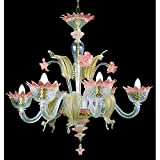 Muranese Kronleuchter aus Murano-Glas 6-armig kristall gold rosa