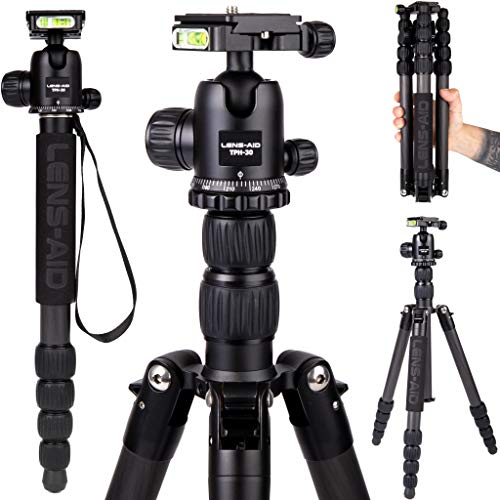 Lens-Aid Profi Carbon Stativ mit Kugelkopf: Leichtes und kompaktes Kamera-Reisestativ, Dreibein Fotostativ, Einbeinstativ, Makrostativ Kohlefaser