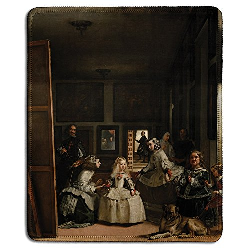 dealzEpic - Art Mousepad - Natural Rubber Mouse Pad with Famous Fine Art Painting of Las Meninas(The Maids of Honour) by Diego Velazquez - Stitched Edges - 9.5x7.9 inches