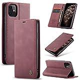 KONEE Custodia Compatibile con iPhone 11, Pelle Premium Magnetica Flip Custodia [Slot per schede] [Funzione Stand] Antiurto Portafoglio PU Cover per iPhone 11 - Vino Rosso