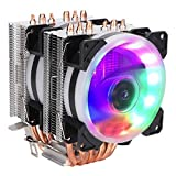 Yoidesu Dual-Tower CPU Cooler,Twin-Tower Heatsink,CPU Cooler with 6 Heatpipes,12V 3Pin Colorful Lights CPU Air Cooler for AMD
